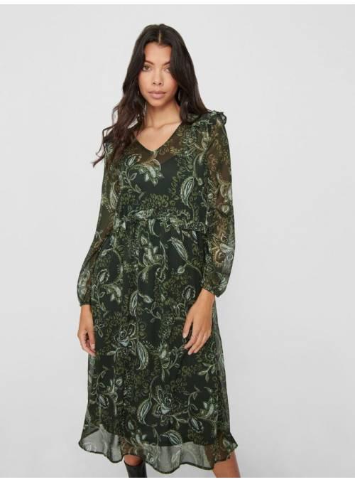 DRESS FEM WOV PL100 - GREEN - HAND DRAWN