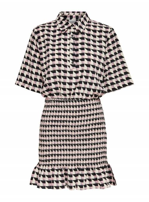 DRESS FEM WOV PL100 - WHITE - BLACK & BU