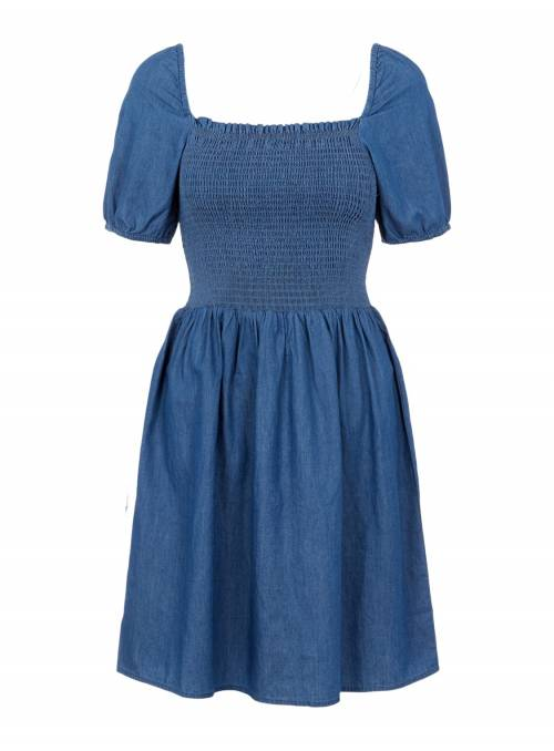DRESS FEM WOV CO100 - BLUE -
