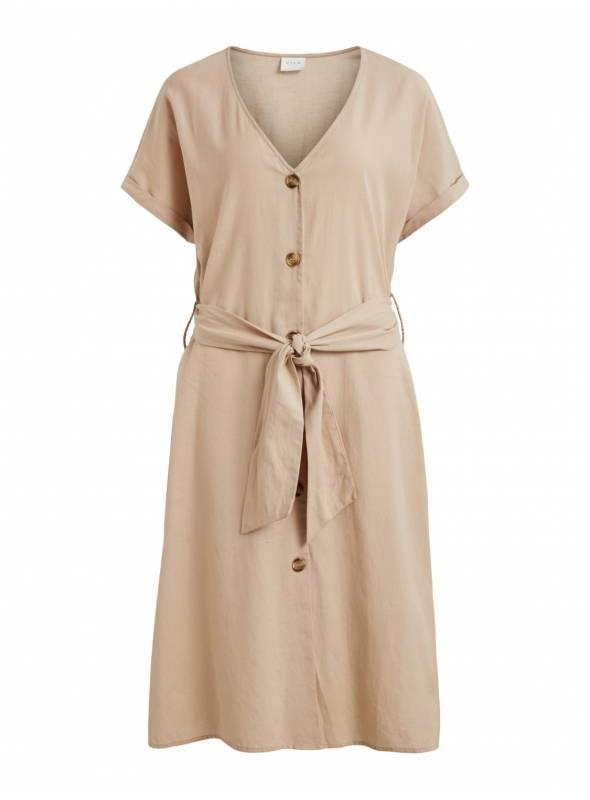 DRESS FEM WOV CO90/LIN10 - WHITE -