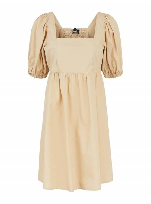 DRESS FEM WOV CO100 - BROWN -