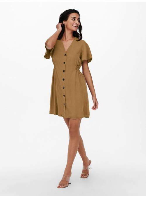 DRESS FEM WOV LYT100 - BROWN -