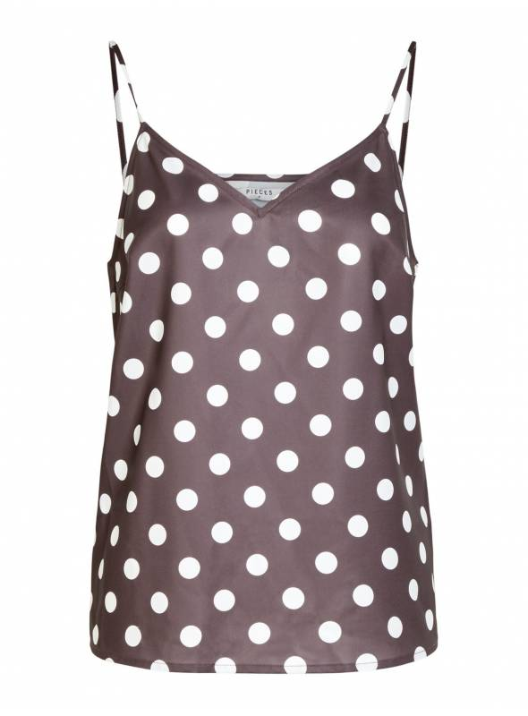 SINGLET FEM WOV PL100 - RED - WHITE DOTS