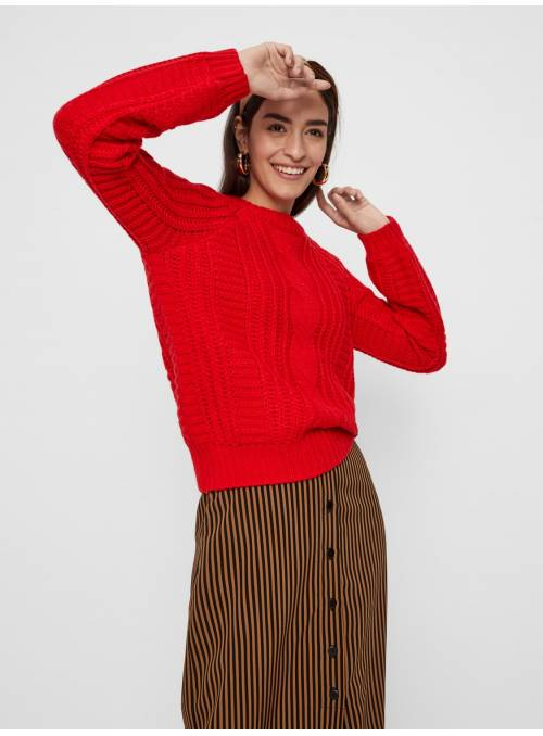 PULLOVER FEM KNIT PC100 - RED -
