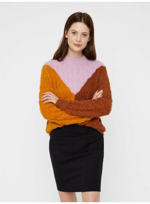 PULLOVER FEM KNIT NYL70/PC30 - ORANGE -