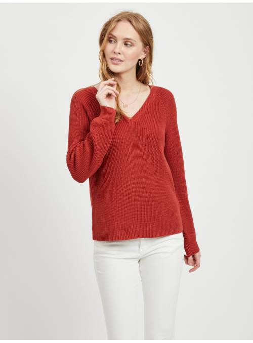 PULLOVER FEM KNIT CO100 - RED -