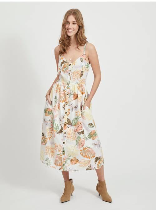 DRESS FEM WOV CO85/LIN15 - WHITE - PALME