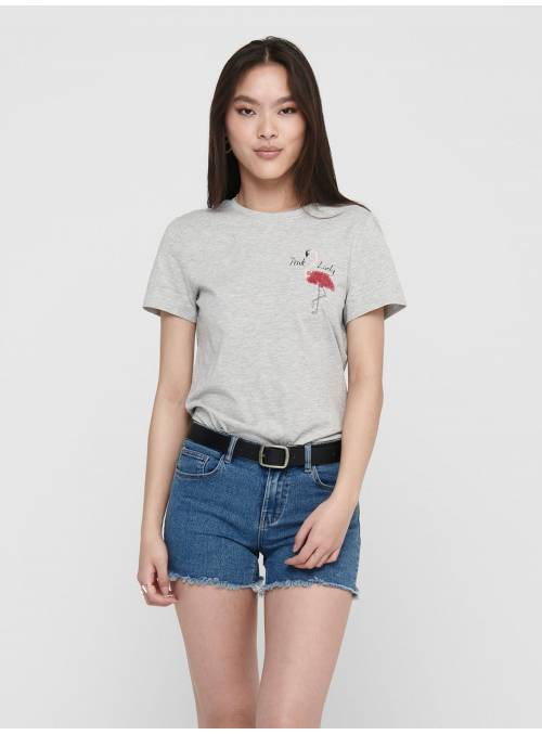 T-SHIRT FEM KNIT OCO100 - GREY - FLAMING