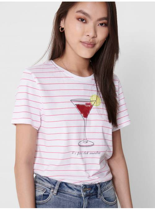 T-SHIRT FEM KNIT OCO100 - WHITE - DRINK