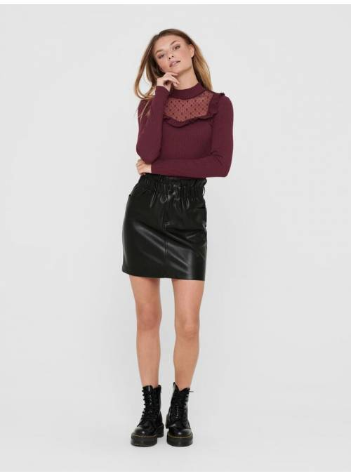 SKIRT FAUX LEATHER- BLACK -